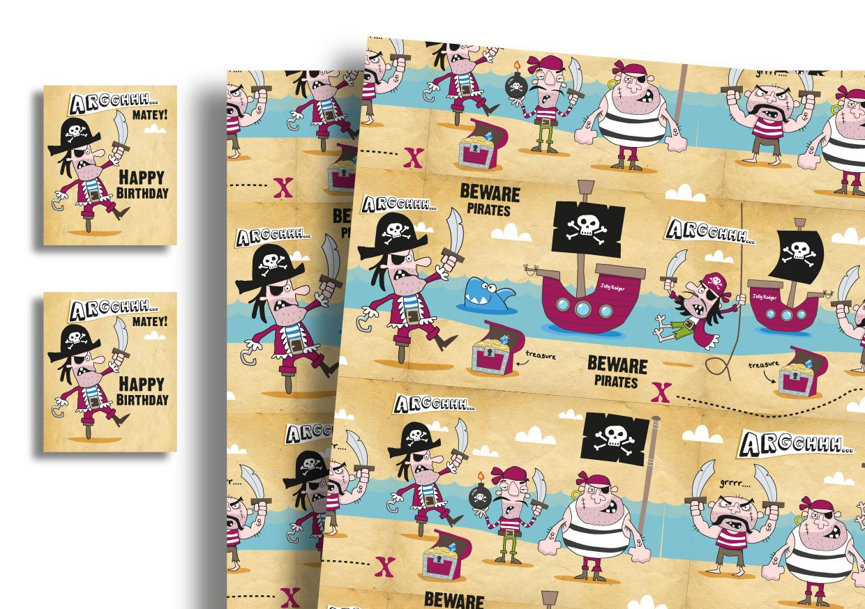 Childrens Luxury Gift Wrap x 2 Sheets /& 2 Tags Pirate