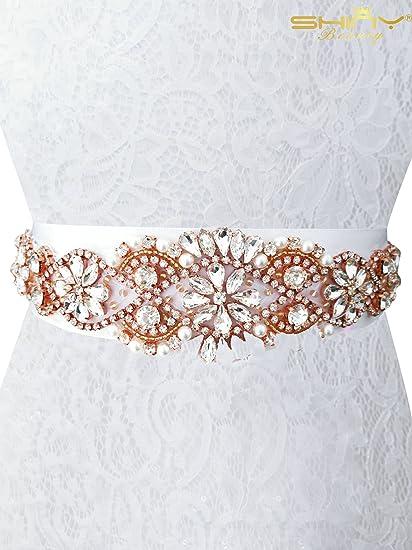 Shinybeauty Rhinestone Cinturón para vestido de novia y novia, accesorio para boda, vestido de