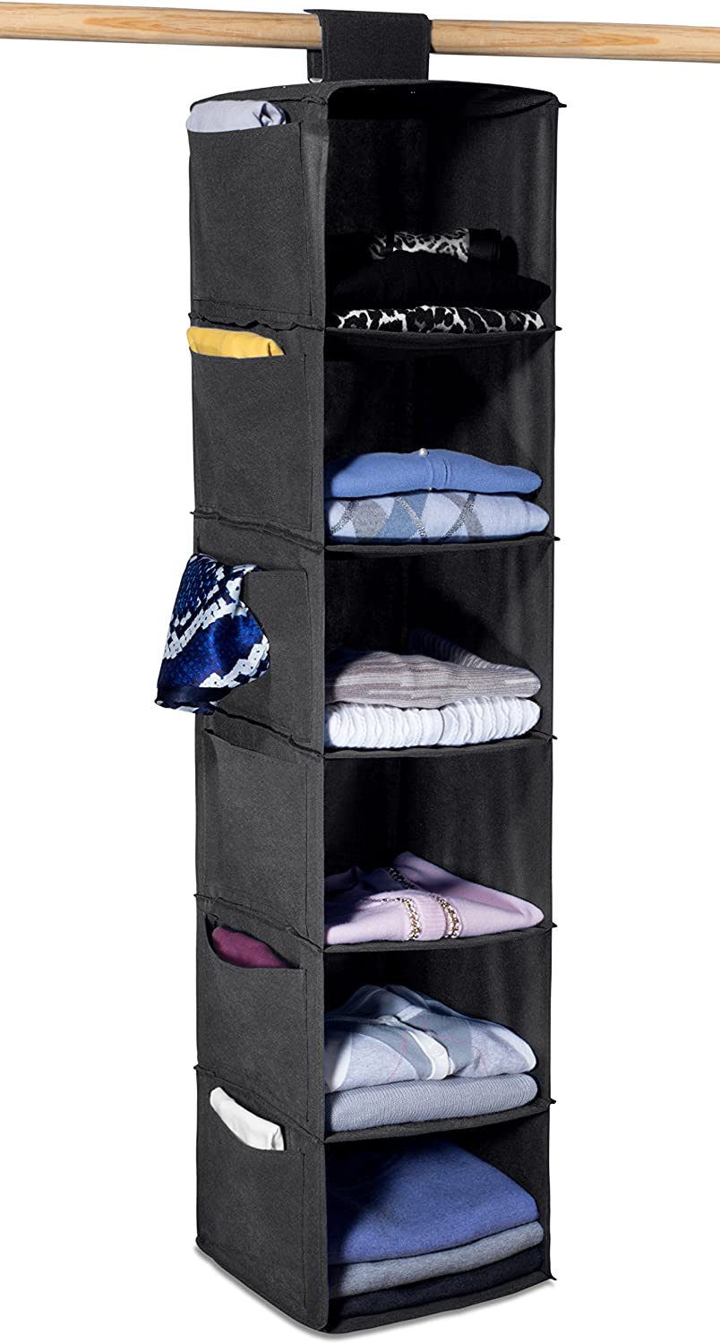 Hanging Sweater Organizer, 6 Shelves - Easily Organize and Maintain Your Sweaters Shape. Additional Six Side Pockets for Clothing Accessories. Attaches to Closet Rod with Heavy Duty Fastener. (Black)
