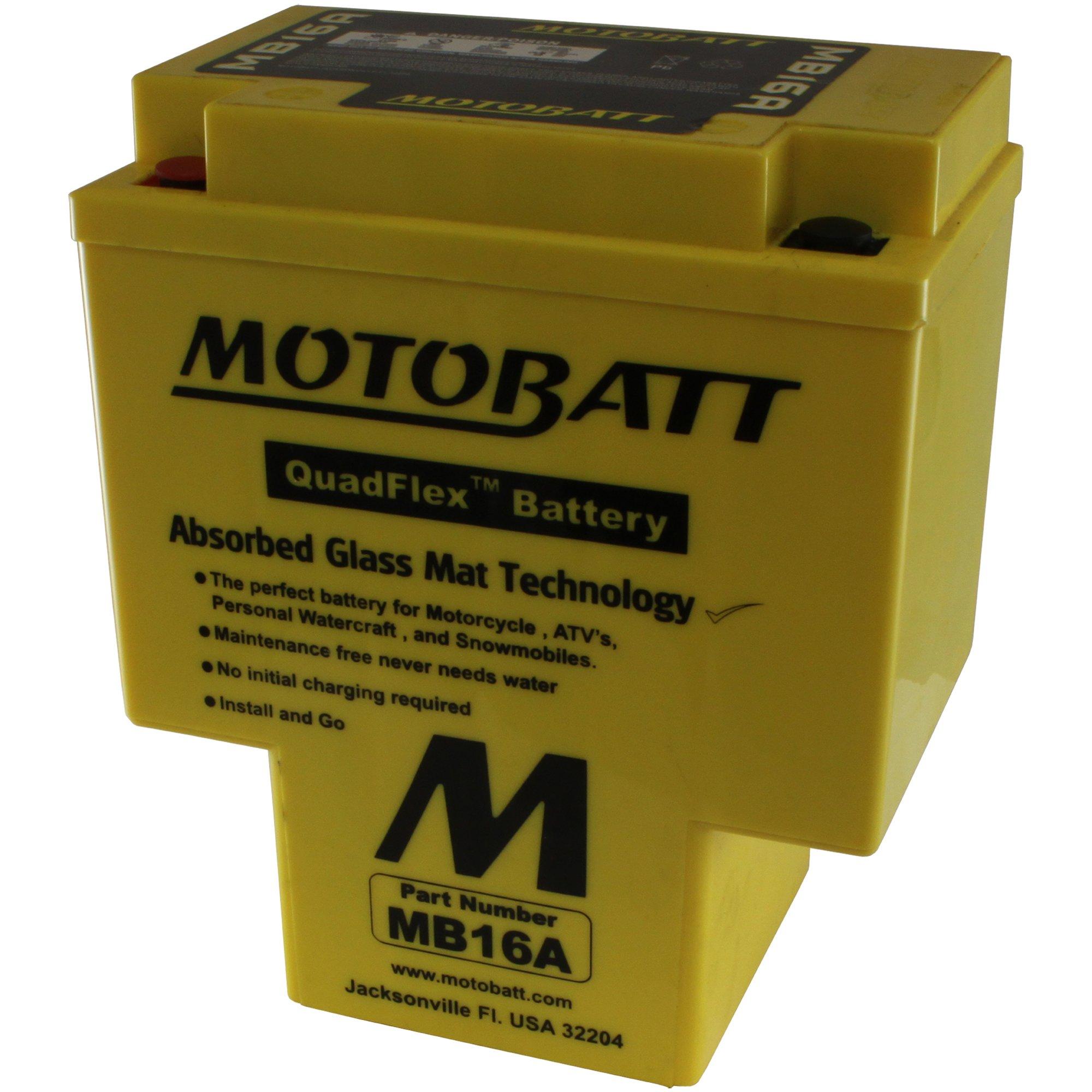 MotoBatt MB16A (12V 19 Amp) 200CCA Factory Activated QuadFlex AGM Battery