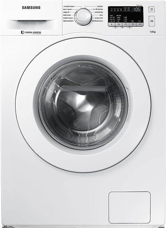 Samsung 7 kg Fully-Automatic Front Loading Washing Machine (WW70J4263MW/TL, White) Washing Machines & Dryers at amazon