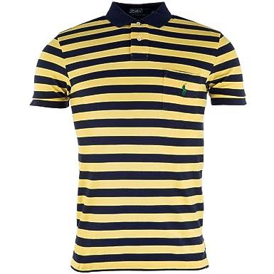 Amarillo para hombre ajuste a la medida diseño de rayas Polo de ...
