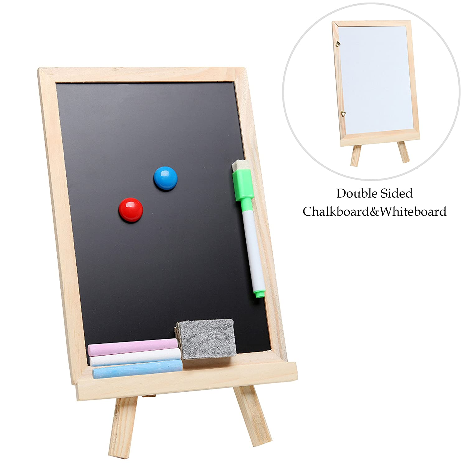 MyGift Small Wood Chalkboard Easel, Whiteboard Stand w/ Chalks, Magnets & Marker TB-OFC0003BEI