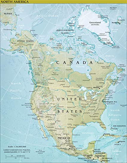 Amazon.com: Map Poster - North America Physical Map 24\