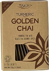 Taka Turmeric Organic Golden Chai Tea, Pack of 15 Teabags, Pack of 4