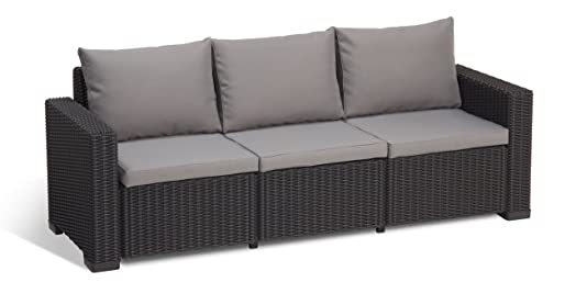 allibert by keter california 3 seater rattan sofa outdoor garden furniture graphite with grey cushions
