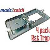 made2catch Classic Metal Rat Trap Fully Galvanized - 4 traps - Humane Rat Traps That Work - Snap Rat Trap - Durable Reusable Rat Trap - Effective Rat Traps