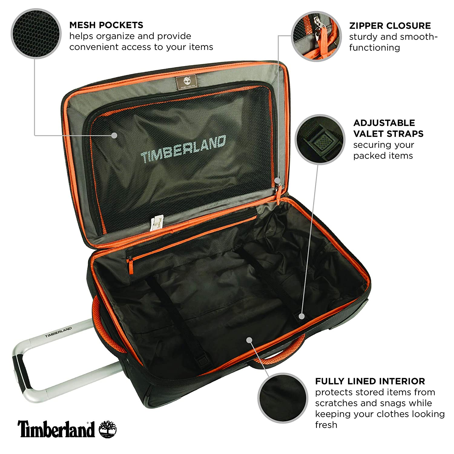 ce278962f Amazon.com | Timberland Wheeled Duffle Bag - Carry On 22 Inch Lightweight  Rolling Luggage Overnight Travel Bag Suitcase for Men, Burnt Olive/Burnt  Orange | ...