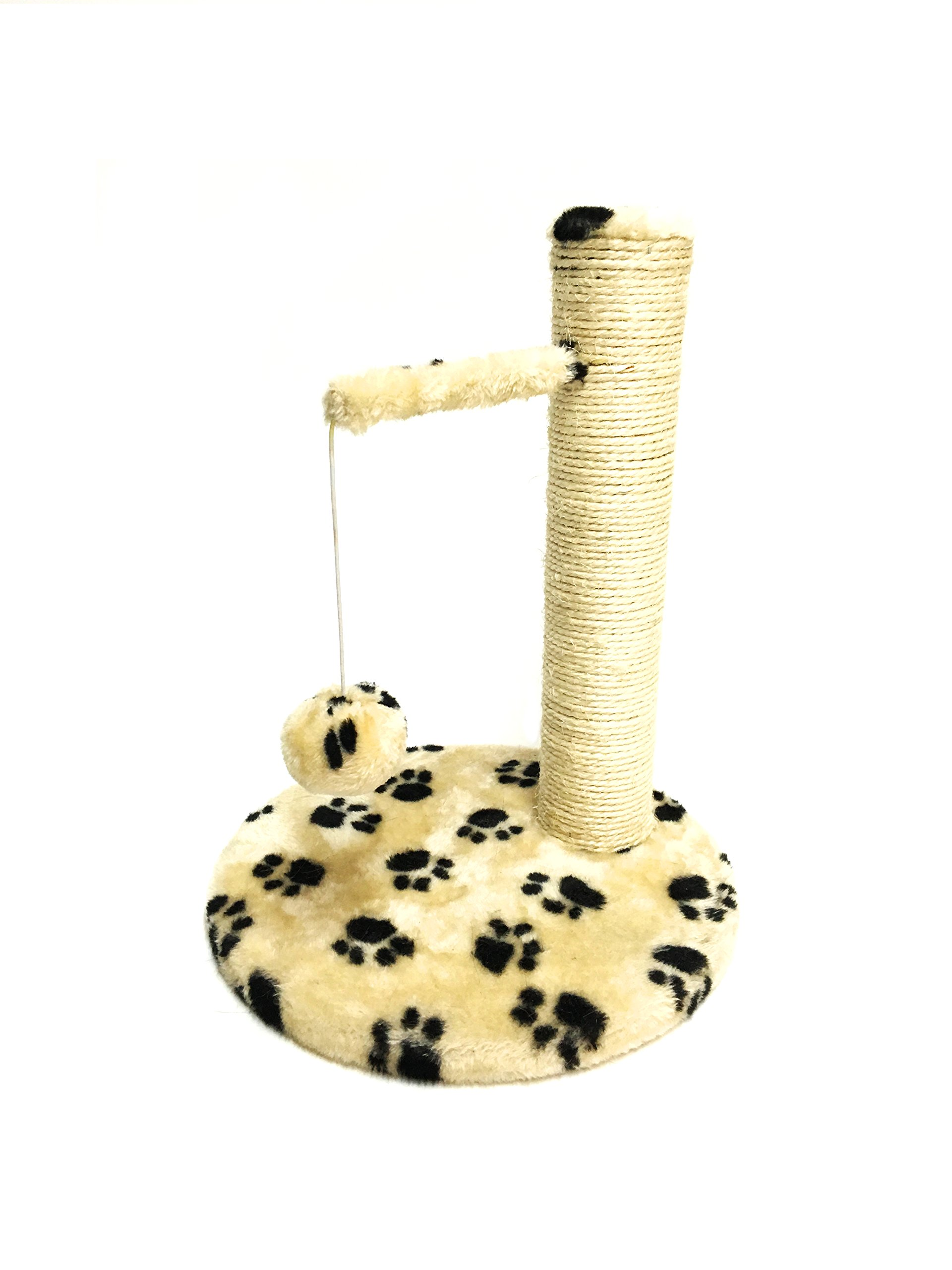 Twingo Cat Scratching Post, Cat Scratcher Durable Scratching Post for Pet, Cats Scratching Pad with Hanging Toy (White)