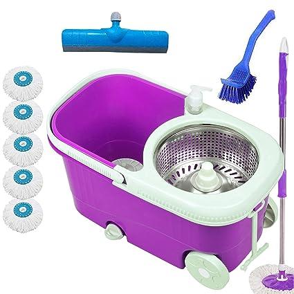 V-MOP Elite Steel Bucket Mop with 6 Heads + Sink Cleaner + Floor Wiper (Purple Color Favourite Color)