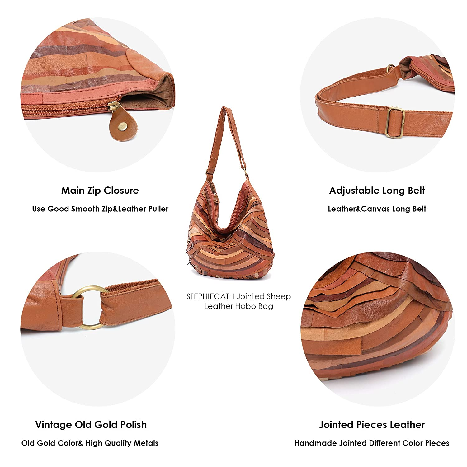 07f0dcfa8fd1 Amazon.com  Vintage Leather Women Patchwork Hobo Bag STEPHIECATH Soft  Casual Real Lamb Leather Sheep Skin Messenger Bag (TAN)  Musical Instruments