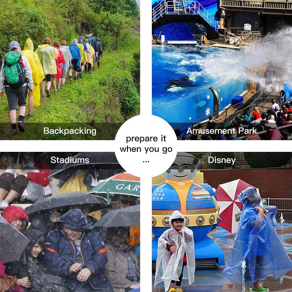 6 St/ück Brinny 6X Einweg Regenponcho Notfallponcho Poncho mit Kaputze Regenschutz zu jeder Gelegenheit Erwachsene Damen Herren