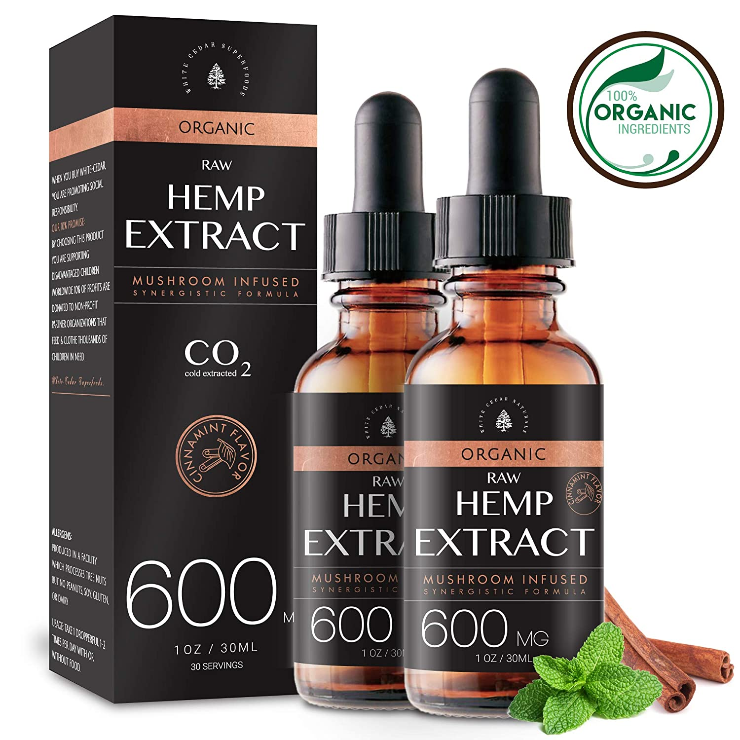 (2-Pack) Organic Raw Hemp Oil Extract - 600MG - Cinnamint Flavor - Enhanced Efficacy, Made in USA - Rich in Omega 3-6-9 Fatty Acids, Kosher, Non-GMO. White Cedar Natural