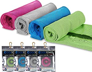 UPMCT Cooling Towel for Neck, Not Fade Microfiber Soft Breathable Towel for Sports, Fitness, Yoga, Camping (4 Pack Mix, 12in40in)