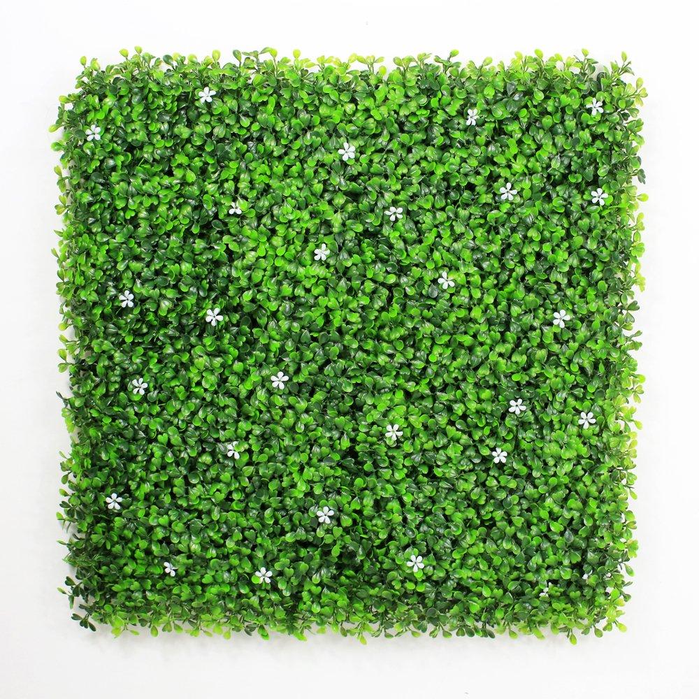 グリーンフェンス フェイクグリーン ウォールグリーン 人工植物マット 1.5 sqm グリーン目隠し 造花 ガーデン フェンス 壁面緑化 50x50cm/枚 6 枚 店舗装飾 人工観葉植物 芝生 (6枚, 白い花) B071GC7LJ4 6枚|白い花 白い花 6枚