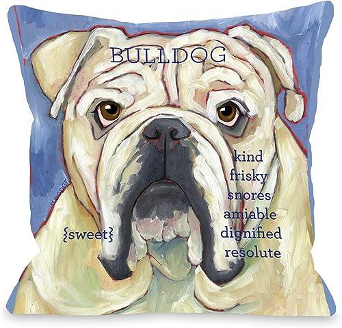 One Bella Casa Bulldog 2 Throw Pillow, 20 by 20-Inch