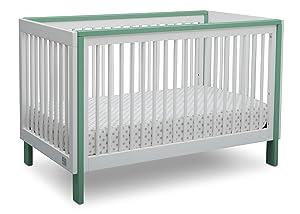 Serta Fremont 3-in-1 Convertible Baby Crib, Bianca White with Aqua