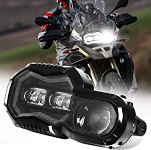 AUDEXEN LED Headlight Assembly with Angel Eyes DRL High/Low Beam Compatible with BMW F800GS F800GS Adventure F700GS F650GS