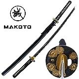 "Makoto Handmade Sharp Japanese Katana Samurai Sword 41"" Full Size Black - Himawari (Sunflower) Tsuba, 1060 High Carbon Steel, Real Ray Skin"