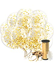 Gold Confetti Balloon For Party Decoration – 32 Pack Curling Ribbon & Flower Clips - Premium 12 Inch Clear Birthday Balloons Filled With Golden Confetti - For Wedding Anniversary Proposal & Engagement