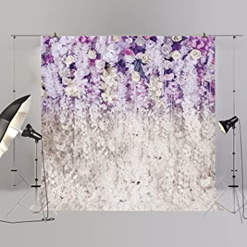 8x6.5ft Purple Flowers Dreamy Pastel Backdrop Valentines Day Mothers Day Photography Backgroud Fantasy Baby Shower Romantic Wedding Anniversary Lover Couple Girls Photo Props