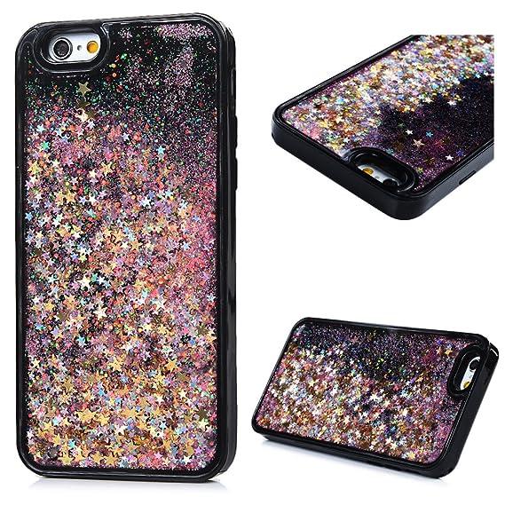 new arrivals ed86e 5a47f iPhone 6 Case, iPhone 6S Case, KASOS Black Bottom Liquid Quicksand Bling  Glitter Powder Inside Soft Rubber TPU Frame & Hard PC Back Shell Shockproof  ...