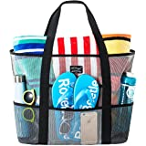 SoHo, Mesh Beach Bag - Toy Tote Bag - Large Lightweight Market, Grocery & Picnic Tote with Oversized Pockets (Black/White)
