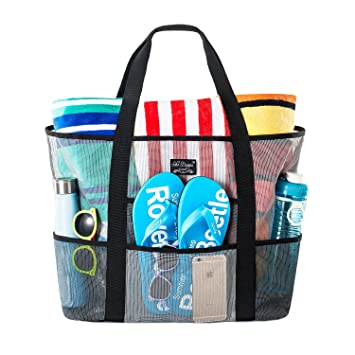 39964e078 SoHo, Mesh Beach Bag - Toy Tote Bag - Large Lightweight Market, Grocery &