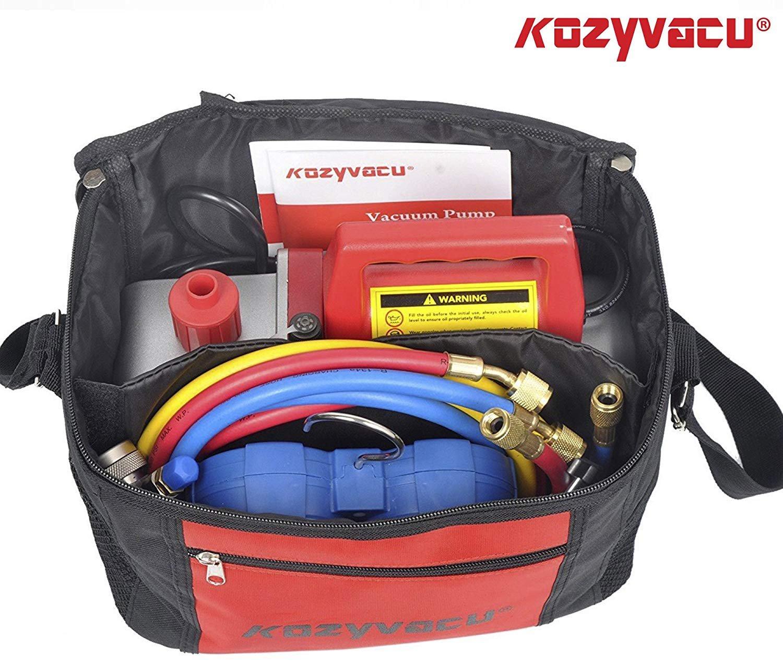 Kozyvacu AUTO AC Repair Complete Tool Kit with 1-Stage 3.5 CFM Vacuum Pump, Manifold Gauge Set, Hoses and its Acccessories by Kozyvacu (Image #6)