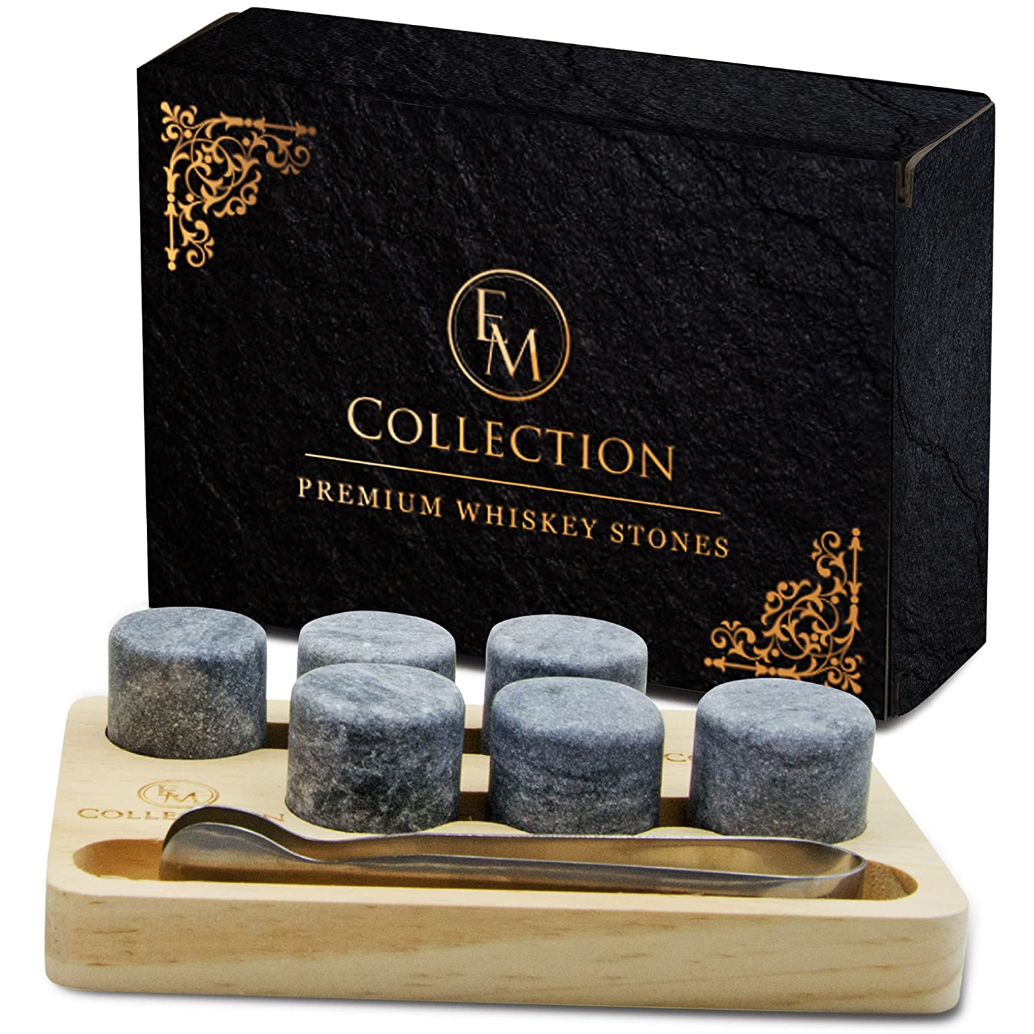 Whiskey Chilling Stones Gift Set of 6 w/Wooden Storage Tray & Forceps: Chill Any Beverage Without Dilution. Round Granite Rocks Cool a Cocktail or Scotch Better Than Ice Cubes or Soapstone EMcollection