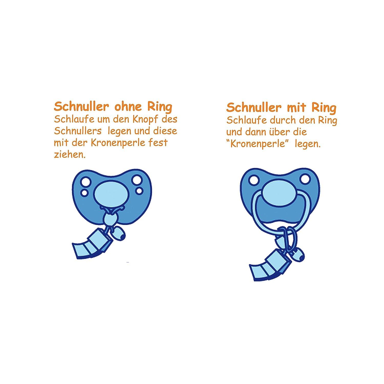 Babym/ütze mit Namen Schnuller Junge - Personalisierte Schnullerkette mit Namen Schnullireich Baby Geschenkset mit Namen