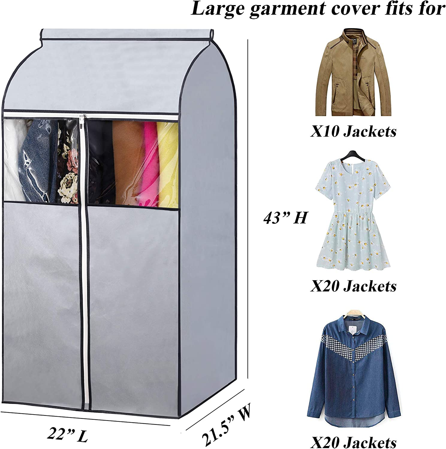 SLEEPING LAMB 43 Garment Bags for Closet Storage with Zippers Completely Closed Wardrobe for Hanging Clothes Suits Coats Cover 2 Packs Grey