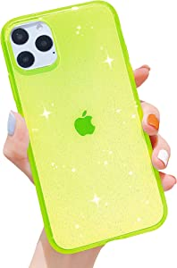 Anynve iPhone 11 Pro Max Case Clear Glitter Sparkle Bling Case [Anti-Shock Matte Edge Bumper Design] Cute Cover Slim Soft Silicone Gel Case Compatible for iPhone 11 Pro Max 6.5''-Green
