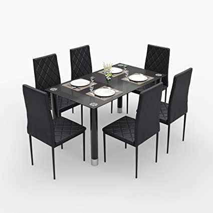 Forzza Aria Six Seater Dining Table Set (Black)  Amazon.in  Home ... 8e94bf9c8