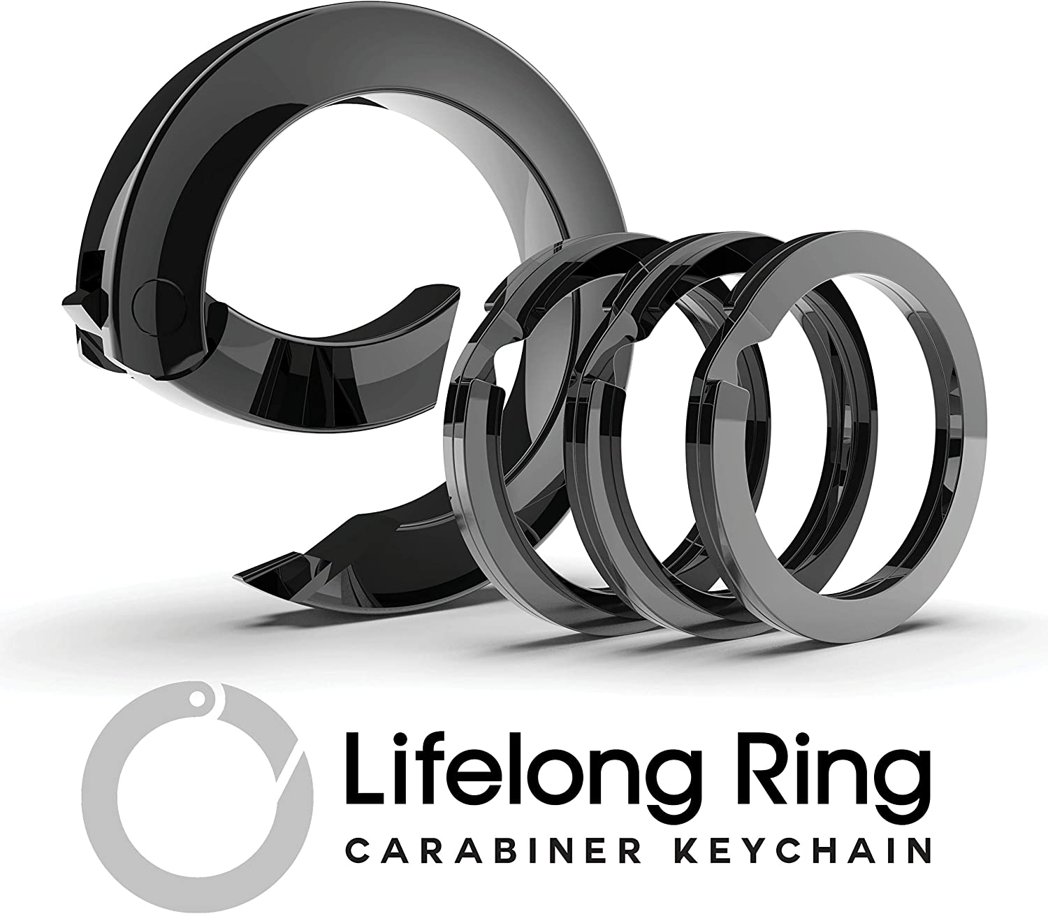 Lifelong Ring Fashion Carabiner Keychain w/ 3 Matching Key Rings Set, 300 Series Universal Size, Pure Round Circle Design, Strong, Solid Metal Keychain Clip, Key Clip, Key Organizer