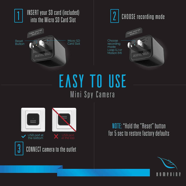 FiveSky HD 1080P C/ámara oculta C/ámara esp/ía WiFi Spy Cam Cargador USB Microc/ámaras esp/ía Detecci/ón del Movimiento Videoc/ámara de Vigilancia Control APP