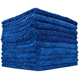 (10-Pack) THE RAG COMPANY 16 in. x 16 in. Professional Edgeless 70/30 Blend 420 GSM Dual-Pile Plush Microfiber Auto Detailing Towels Creature Edgeless (Royal Blue)