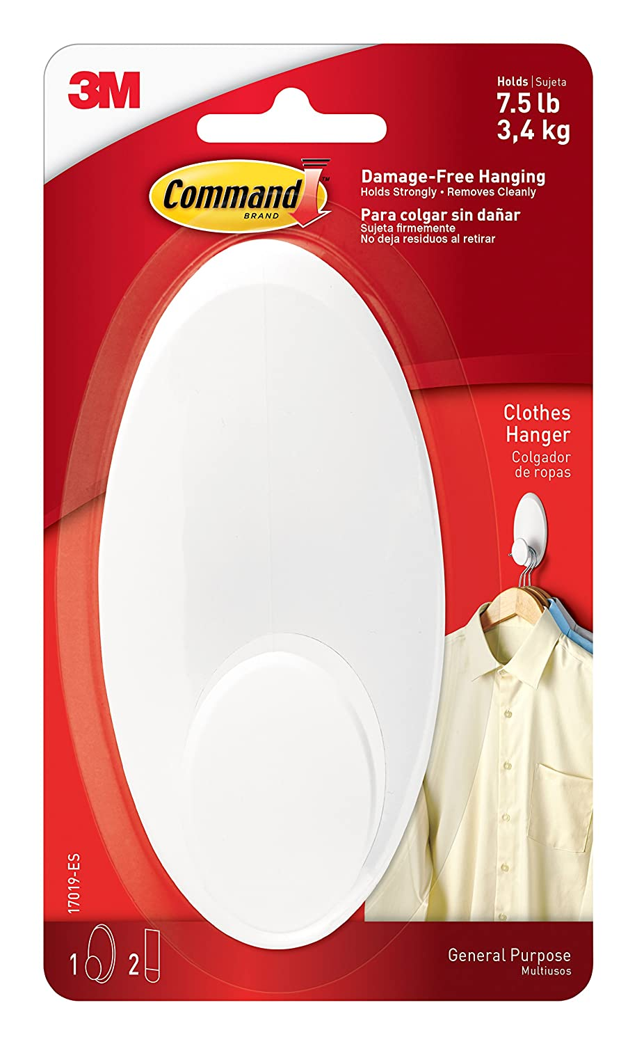 Command 17019-ES Clothes Hanger (1 Hook, 2 Strips/Pack), White, L 3MAA4