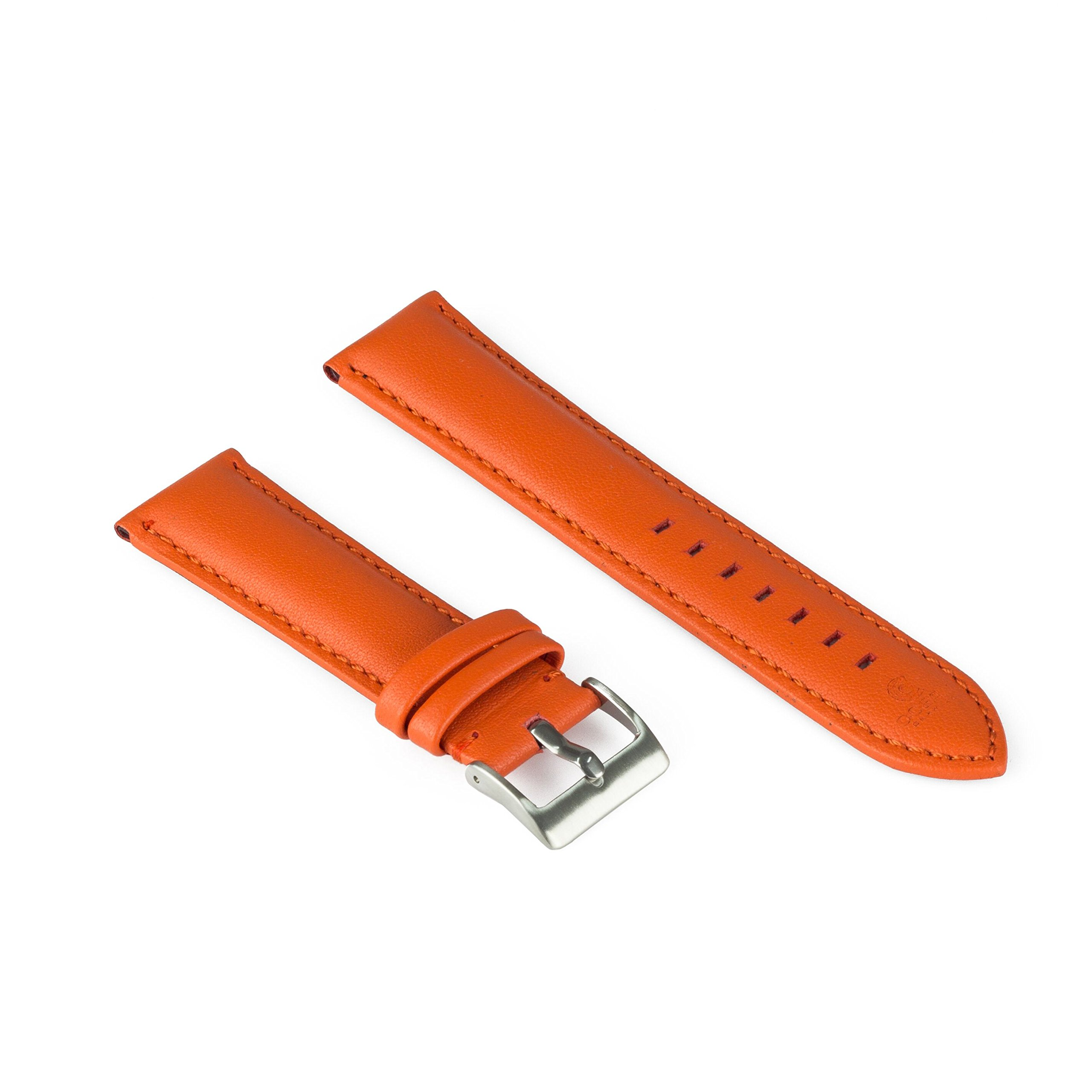 Hand Made Watch Leather Band Strap Orange - Padded and Hand Stitched Strap - 22mm