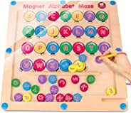Gamenote Magnetic Alphabet Maze Board, Wooden Matching Letter Game for Preschool Kingdergarten - Fine Motor Skills Toys ABC