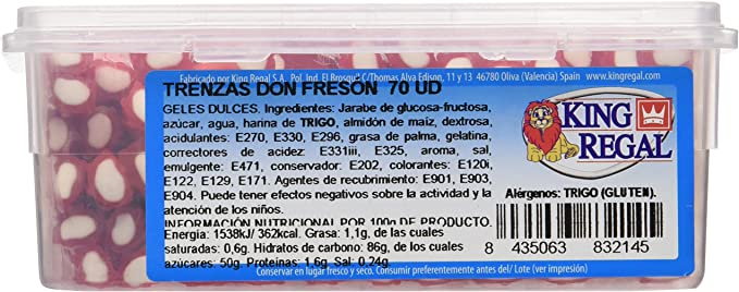 King Regal Trenzas Fresa Maxi - estuche 70 unidades: Amazon.es: Alimentación y bebidas
