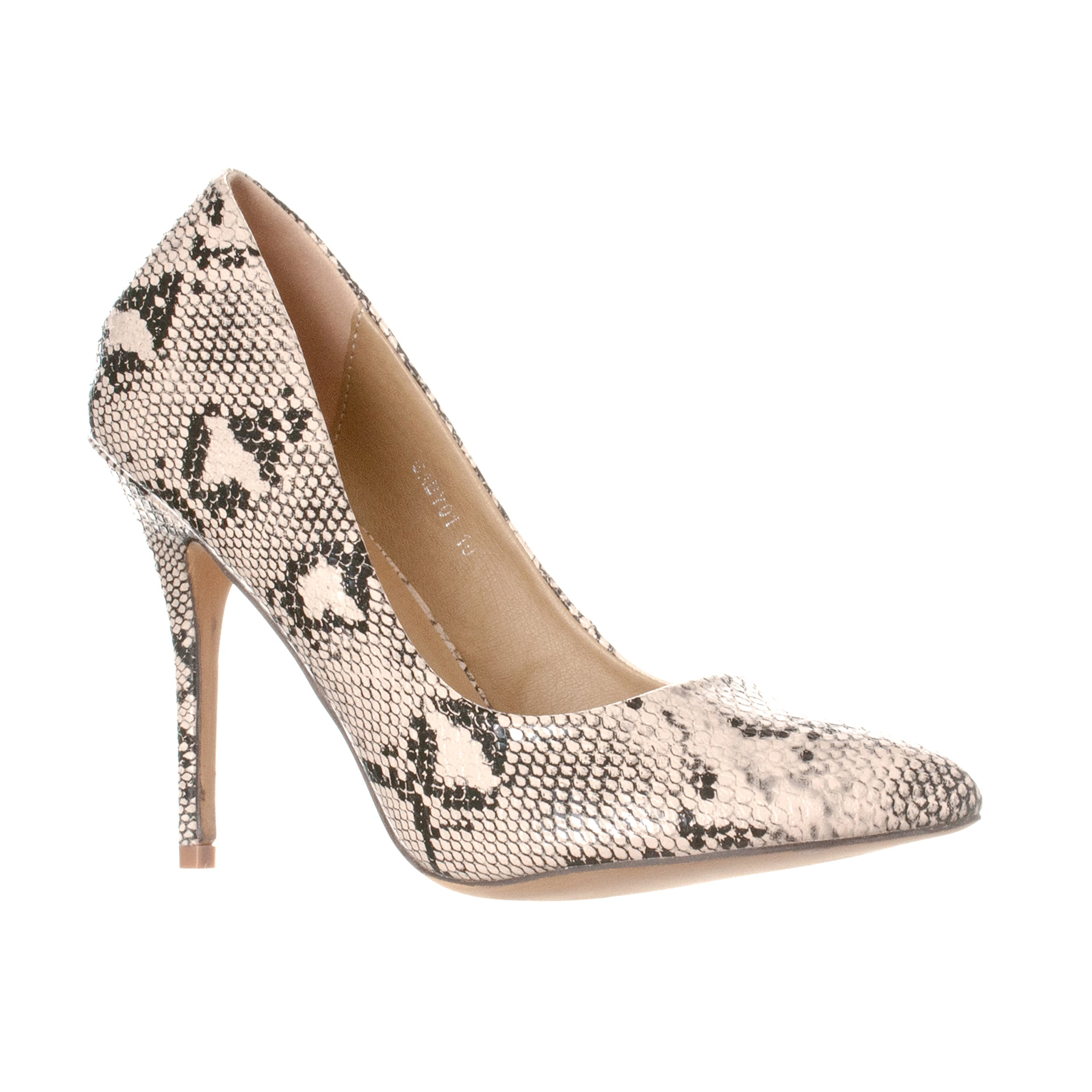 Riverberry Women's Gaby Pointed, Closed Toe Stiletto Pump Heels, Beige Python, 7
