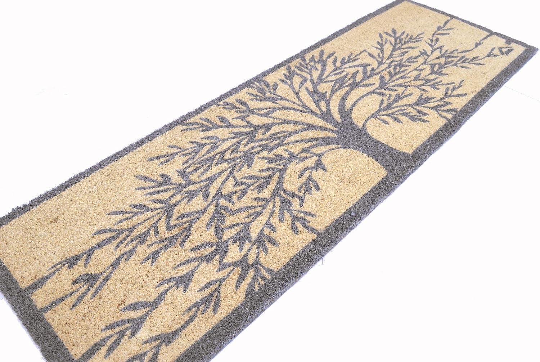Casa Service Paillasson en coco naturelle Joker avec motif arbre de vie 40 x 120 cm Fond en caoutchouc PVC Plusieurs couleurs pour entr/ée R/ésistant Lavable Antid/érapant de qualit/é 40/_x/_120/_cm gris