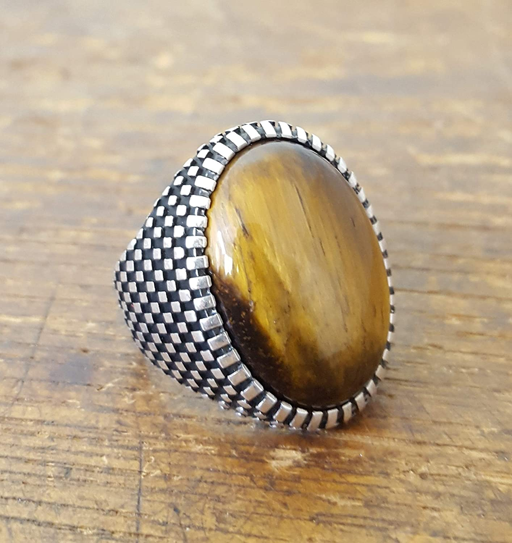 Handmade 925K Sterling Silver Mens Ring With Tiger Eye Stone