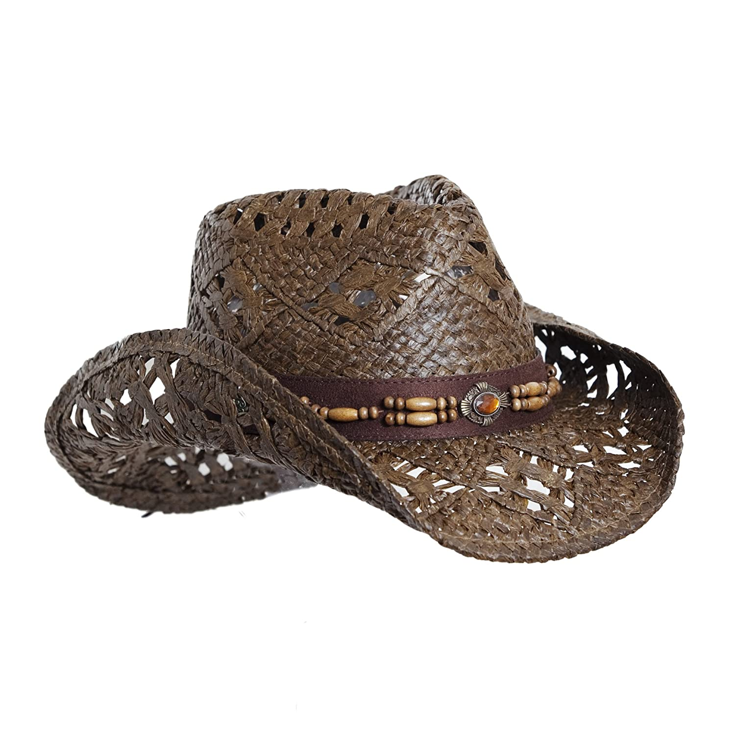 Vamuss Straw Cowboy Hat W/Vegan Leather Band & Beads, Shapeable Brim, Beach Cowgirl Faux Leather Trim TC072716