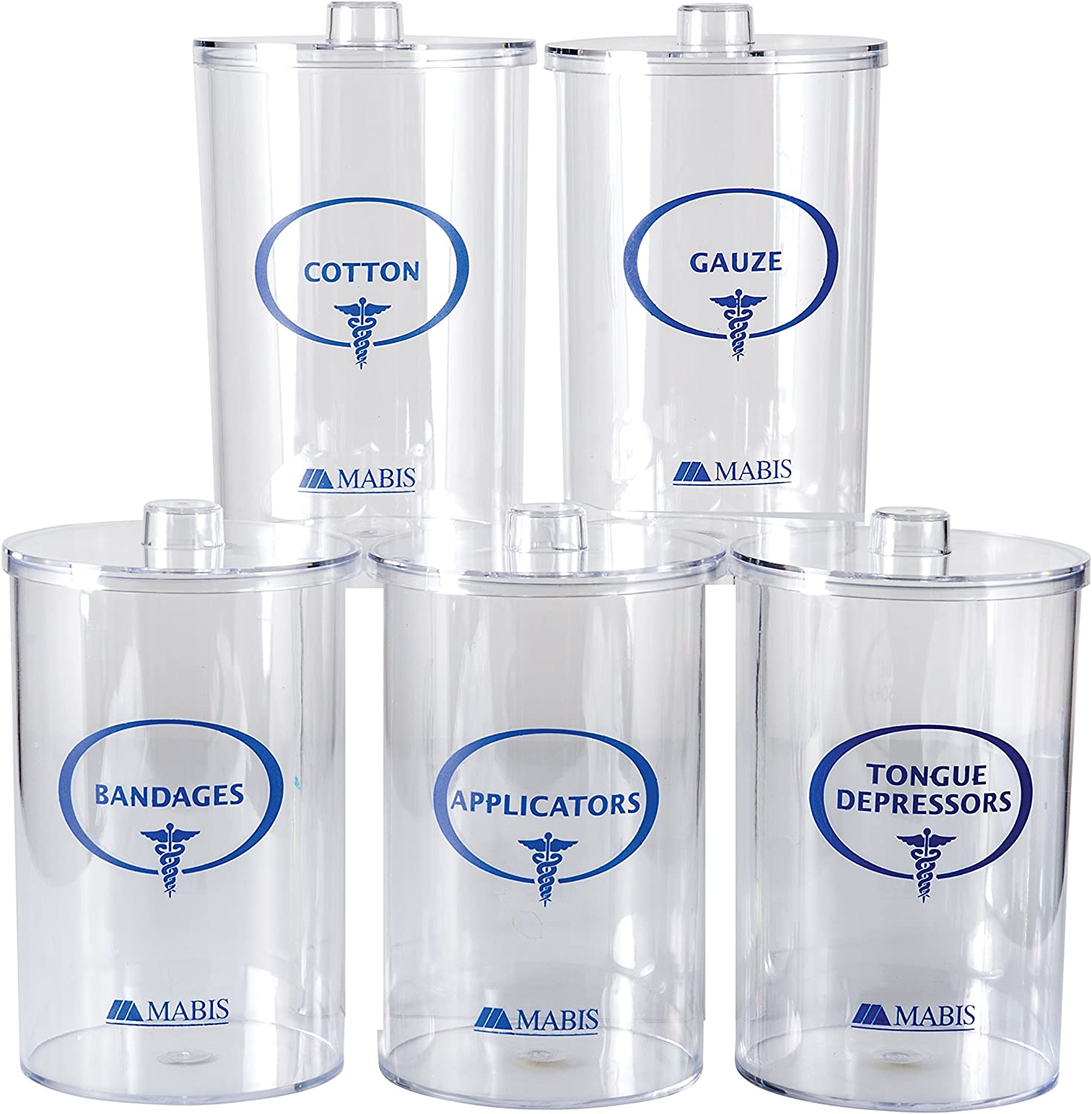 MABIS Apothecary Jars, Sundry Jars, Clear, Set of 5