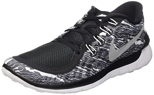 Nike Mens Free 5.0 Print Running Shoe Black/White/White 9 D(M