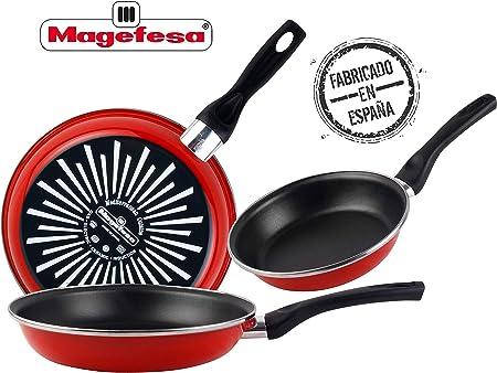 Magefesa Grana Juego de Sartenes 18Ø 20Ø 24Ø de acero esmaltado, con antiadherente bicapa reforzado y color rojo exterior. Apta para todo tipo de cocinas, incluida inducción: Amazon.es: Hogar