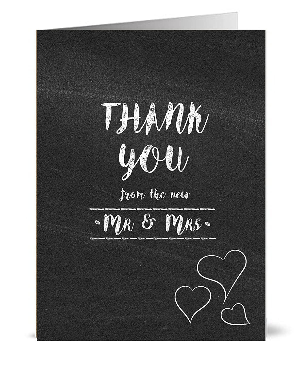 50 Wedding Thank You Cards with Envelopes - Blackboard vintage style greeting cards for thanking people for their attendance the lazy panda card company