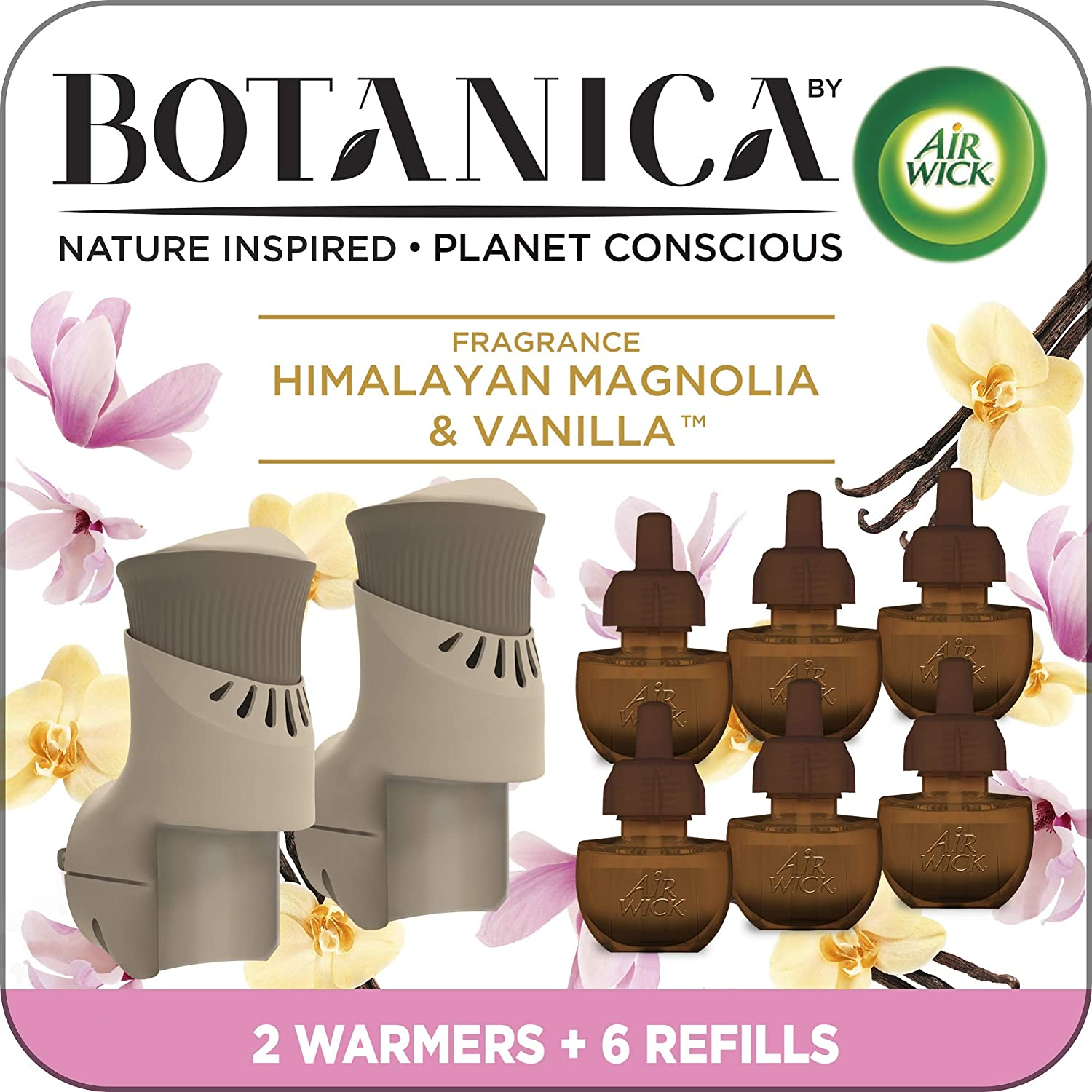 Botanica by Air Wick Plug in Scented Oil Starter Kit, 2 Warmers + 6 Refills, Himalayan Magnolia and Vanilla, Air Freshener, Eco Friendly, Essential Oils